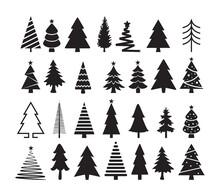 Vector Set Of Christmas Tree Icons