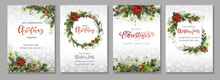 Merry Christmas Corporate Holiday Cards, Flyers And Invitations. Design Templates For Festive Frames And Backgrounds.