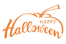 Happy Halloween - Hand-drawn Creative Calligraphy And Brush Pen Writing. Design For Holiday Greeting Cards And Invitations, Flyers, Posters, Banner.