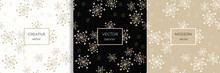 Stylish Set Of Seamless Patterns With Abstract Snowflakes And Tiny Hearts. Doodle Style Minimalist Background. Gold And Black Texture. Elegant  Repeating Design For Decor, Print, Packaging, Wallpaper