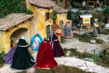 Detail Of A Nativity Set At The Cathedrale La Major In Marseilles. Christmas Holidays Concept.