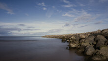 Slow Exposure. Magical Landscape View Of The Stagnant Sea.
