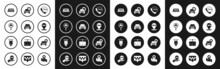Set Taxi Call Telephone Service, Car, Magnifying Glass And Taxi Car, Roof, Map Pointer With, And Scooter Icon. Vector