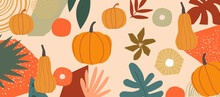 Autumn Inspired Poster With Pumpkins And Leaves Vector Illustration. Fall Season Background