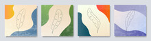 Vector Illustration. Botanical Natural Colorful Background Set. Foliage Line Art Drawing. Design Elements For Social Media Template, Web Banner, Blog Post. Gradient Color. Grunge Textured Wallpapers