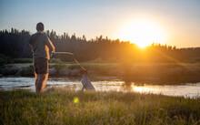 Sunset Flyfishing With Dog Wind River Wyoming