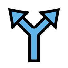 Split Arrow Flat Icon