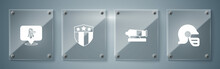 Set American Football Helmet, Cannon, Shield With Stars And Eagle. Square Glass Panels. Vector