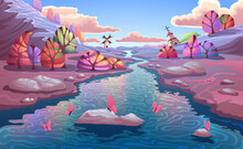 Fantasy Autumn Landscape With Beautiful Colorful Forest, Blue River With Stones, Mounters And Clear Blue Sky With Clouds. Wonderful Nature Illustration In Vector.