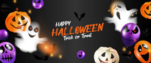 Halloween Background Vector. Halloween Sale And Promotion Banner Design With 3D Ghost And Scary Air Balloons, Bat, Candy, Spider. Website And Trick Or Treat Poster Background Template. Vector EPS10.