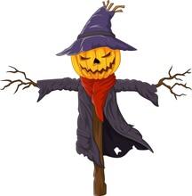 Cartoon Scary Halloween Pumpkin Scarecrow