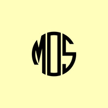Creative Rounded Initial Letters MOS Logo.