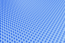 3D Illustration Of Rows Of Blue Bumps. A Set Of Pimples On A Monochrome Background, Pattern. Geometric Background