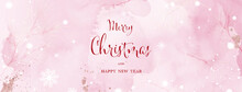 Christmas And Winter Watercolor Abstract Art On Pink Background