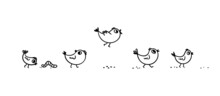 Doodle Chicks Walk In A Row. Cute Cartoon Little Birds On A Walk Are Exploring The Worm, Trying To Fly. Vector Stock Illustration Isolated On White Background.