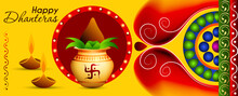 Abstract, Banner Or Poster For Dhanteras  Gold Coin In Pot For Dhanteras Celebration And Diwali Festival Celebration With Hindi Text Shubh Labh Meaning 'wishing Prosperity'