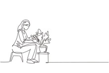 Single Continuous Line Drawing Young Woman Sitting And Planting Gardens Flowers, Agriculture Gardener Hobby And Garden Job. Gardening Person, Gardener Flowers. One Line Draw Design Vector Illustration