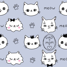 Cute Purple Pattern With Meow Paws Crown Mom Dad Family Cats Text. Pets Seamless Background. Textiles For Children Digital Paper Scrapbook.