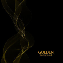 Wave With Golden Shimmery Particles On A Black Background. Festive Design Element. Eps 10