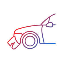 Broken Bumper Gradient Linear Vector Icon. Visible External Damage. Striking Another Vehicle. Rear-end Collision. Thin Line Color Symbol. Modern Style Pictogram. Vector Isolated Outline Drawing