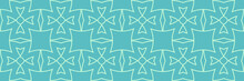 Decorative Background Pattern With Geometric Ornament On Blue Green Background. Seamless Pattern, Texture. Vector Illustration For Design.