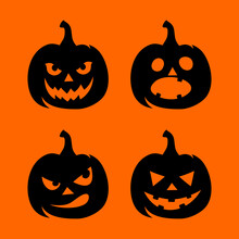 Vector Set Of Four Black Silhouettes Of Jack-o'-lanterns (Halloween Pumpkins) Isolated On An Orange Background.