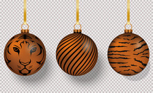 3D Christmas Tree Decorations With Tiger Print