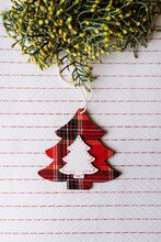 Pine Tree Hanging Wooden Ornament, Christmas Concept