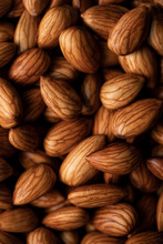 Macro View Of Raw Almonds
