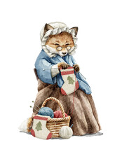 Watercolor Christmas Vintage Grandma Old Fox In Clothes Knits Christmas Socks In Armchair Isolated On White Background. Hand Drawn Illustration Sketch