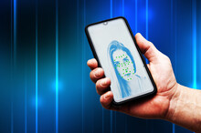 Smartphone With Face Recognition Software App On Screen