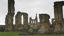 NORTH YORK MOORS, UNITED KINGDOM - Sep 30, 2021: Ruins Of Byland Abbey Tracking Shot On A Rainy Autumnal Day With Nobody Else At The Site.  September 2021 - Byland, England.