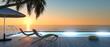 canvas print picture - Sonnenterrasse mit Sonnenliegen am Abend