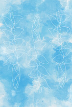 Line Of Tropical Flower On Watercolor   Background.