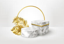 3d Realistic White And Black Marble Pedestal On White Background With Golden Palm Leaves. Empty Space Design Luxury Mockup Scene For Product. Vector Illustration