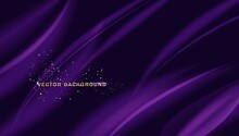 Beautiful Purple Silk. Drapery Textile Background, Vector