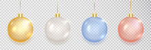 Gold, Silver, Blue, Red Christmas Balls Set. Xmas Golden Decoration. 3d Luxury Bauble Design Element. Clear Glass Hang Toy. New Year Gift. Glitter Sphere. Festive Present Card. Vector Illustration