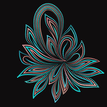 The Paisley - Colorful Folk Art Dot Pattern. Traditional Ethnic Ornament. Object Isolated On Black Background. Vector Print.