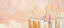All Saints Day. Watercolor Christian Background..