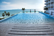 Outdoor Pool In A Resort Near The Sea, During Daylight