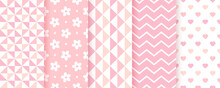 Baby Shower Pastel Patterns. Baby Girl Seamless Backgrounds. Vector Illustration.