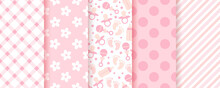 Baby Pink Seamless Patterns. Pastel Background. Baby Girl Geometric Print. Vector.