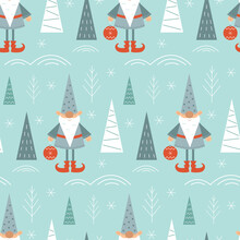 Winter Forest And Gnome Seamless Pattern In Scandinavian Style. Festive New Year And Christmas Design Of Cards, Packaging, Textiles. Vector Stock Illustration.