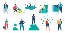 Rich People, Millionaire Characters With Cash And Money Bags. Wealthy Men And Women Throwing Money Bills, Standing On Dollar Pile Vector Set. Business People Earning Fortune, Income