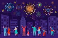 Happy People Watching Fireworks In Night Sky. City Festival, Holiday Celebration With Colorful Firework Explosions Vector Illustration. Parents With Children Taking Photos On Phone