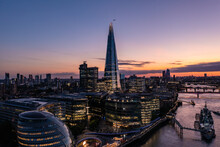 Aerial View Of The Shard Tower In London At Sunset