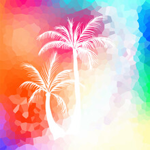 Palm Trees On A Multi-colored Beautiful Background. Vector Illustration