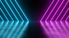 Blue Pink Neon Lines Diagonal Angle Stripes Glow Reflections Flicker - Abstract Background Texture