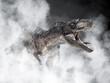 Gorgosaurus Dinosaur on smoke background