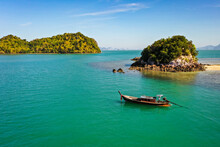 Fishing Boat On The Calm Sea In Mu Koh Chang National Park, Ko, Thailand